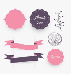 wedding decorative design elements frames ribbons vector image