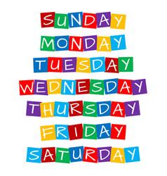 Weekday names set text in colorful rotated squares vector