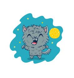 werewolf in kawaii style vector image