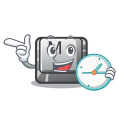 with clock button m in character shape vector image