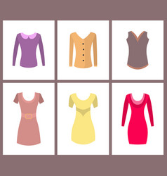 Womens warm casual tops and elegant dresses set vector