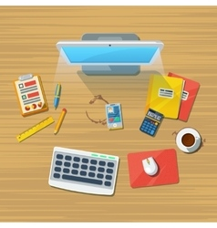 Work Place Office Flat Icon Print vector