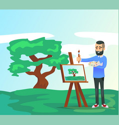 Young artist drawing tree on canvas vector