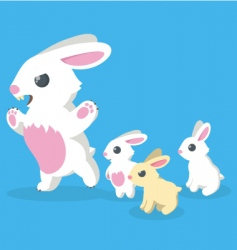 bunny family vector image vector image