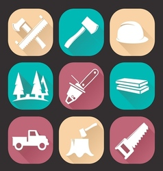 Lumberjack woodcutter icons set vector image
