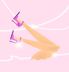 Abstract pink feet vector