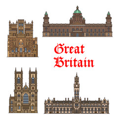 English travel landmark of great britain thin icon vector