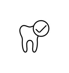 Thin line good tooth ok icon on white background vector