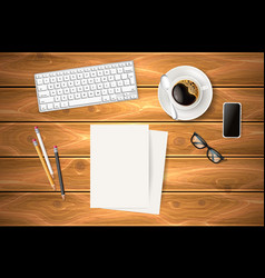 business symbols at wooden table vector image vector image