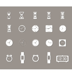 Clock icons set with shadows vector image