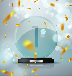 glass trophy award first place prize plaque vector image