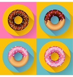 Icon Set Cute sweet colorful chocolate donuts vector image