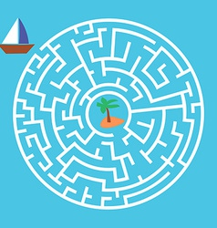 Maze Game Boat Is Looking For Island vector image vector image