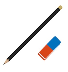 Pencil and eraser vector image vector image