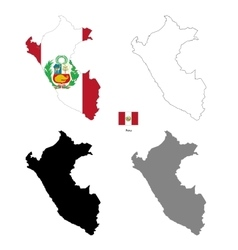 Peru country black silhouette and with flag on vector image
