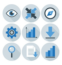 Blue and Grey Business Flat Circle Icons vector image vector image