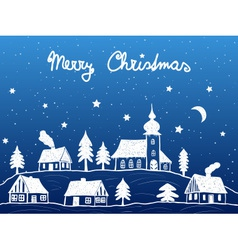 Christmas village with church at night vector image vector image