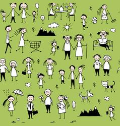 family set seamless pattern design vector image