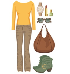Fashion set with jeans and a sweater vector image
