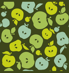 green simple flat apple fruit seamless pattern for vector image vector image