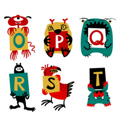 kids alphabet with cute colorful monsters or vector image vector image