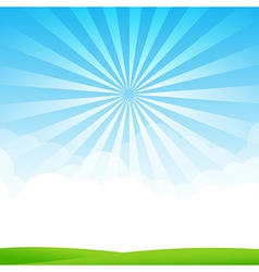 Nature Blue sky sunburst copy space and greenfiel vector image vector image