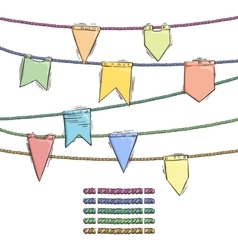 Set of doodle flags with elemens for rope brushes vector