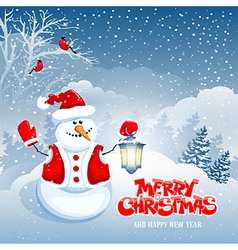 Snowman and lantern vector image