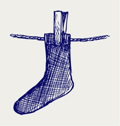 Socks made of a clap in clothesline vector image