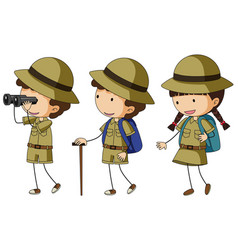 three kids in scout uniform vector image