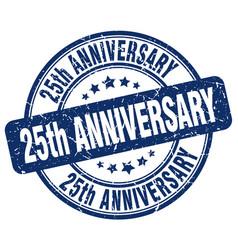 25th anniversary blue grunge stamp vector