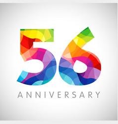 56 anniversary color logo vector