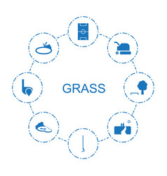 8 grass icons vector image