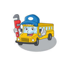 A cute picture school bus working as a plumber vector