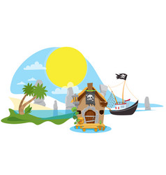 A set of on the pirate theme small fishing boat vector