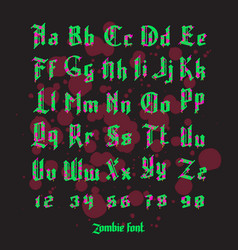 Acid zombie gothic font set vector
