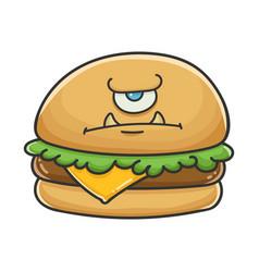 Angry monster cheese burger cartoon vector