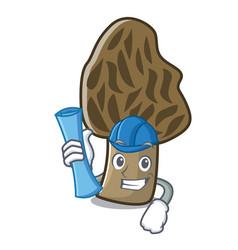 architect morel mushroom character cartoon vector image