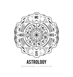 Astrology background natal chart zodiac signs vector