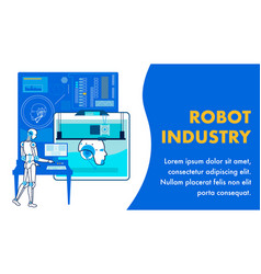 Automated robot production flat banner template vector