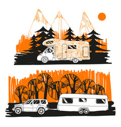 autumn landscape with camper van vector image