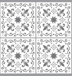 Azulejos seamless pattern gray portuguese vector
