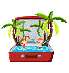 beach summer holiday in suitcase vector image