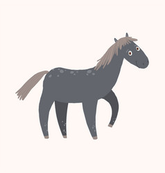 Black funny horse farm animal cartoon vector