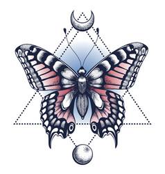 Black ink butterfly pyramid half moon tattoo vector