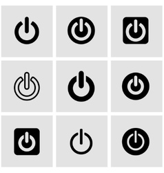 Black shut down icon set vector