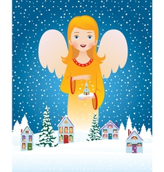 Blessing of Christmas angel vector