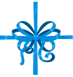 blue wrapping silky ribbon bow vector image