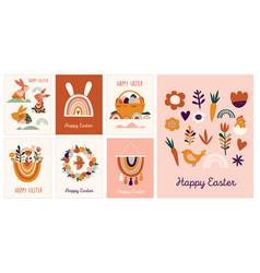 Boho easter concept design greeting cards vector