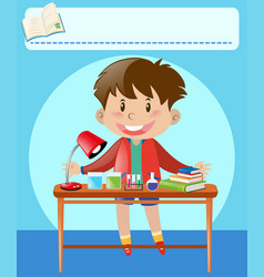 Boy and desk full of equipments and books vector